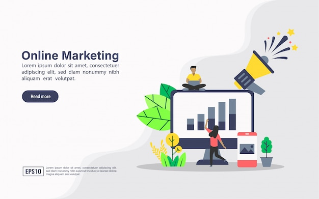 Landing page web template of online marketing