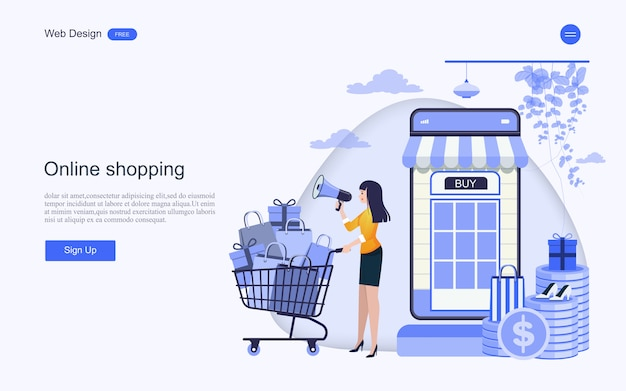 Landing page web template for online shopping and services