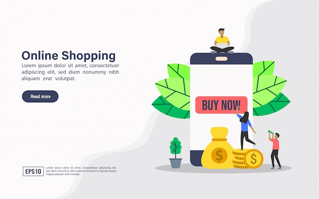 Landing page web template of online shopping
