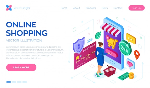 Landing page web template for online shopping