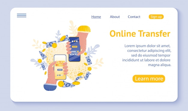 Landing page or web template for online transfer concept with hand holding smartphone and press send button