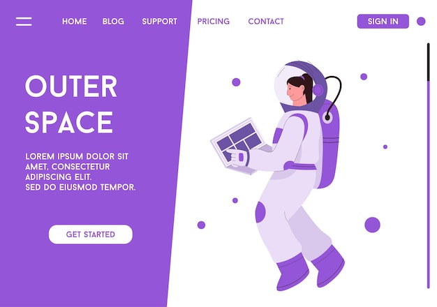 Landing page or web template of outer space concept