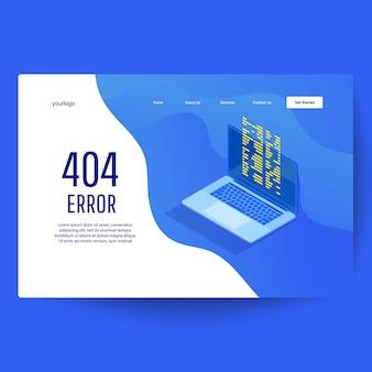 ランディングページのwebテンプレート。ノートパソコンのディスプレイに404エラーがあるページ。メンテナンスエラーのランディングページ