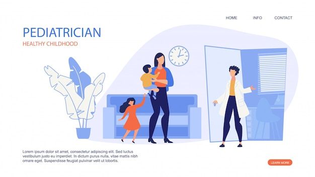 Landing page web template for pediatrician healthy childhood.