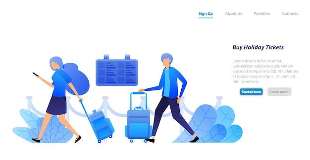 Веб-шаблон целевой страницы. люди держат чемоданы в ожидании и очереди, чтобы купить билеты на вылет, билеты на праздники и туры.
