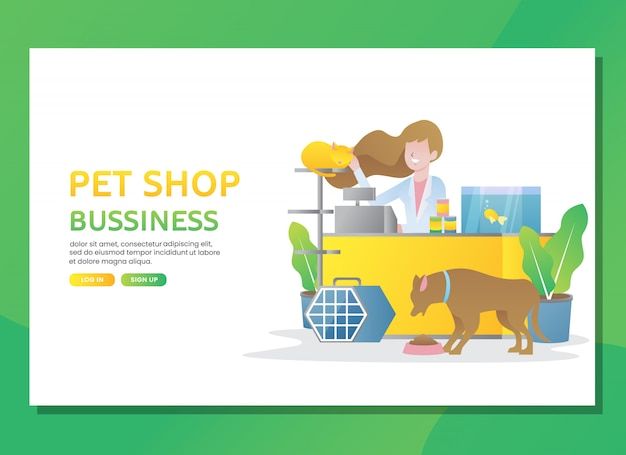 Landing page or web template. pet shop business with woman