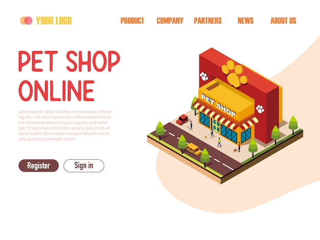 Landing page web template pet shop online isometric
