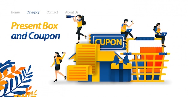 Landing page web template for present box designs with various accessories, gift coupons and shopping cart.