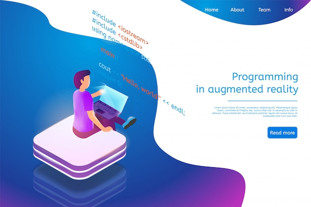 Landing page web template for programming in augmented reality