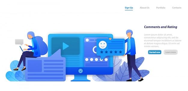 방문 페이지 웹 템플릿. 소셜 미디어에 영향을주는 컨텐츠의 비디오 및 상태에 대한 의견, 등급, 좋아요 및 피드백을 제공하십시오.
