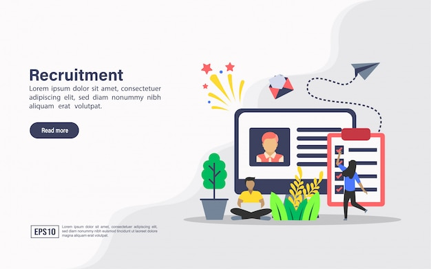 Landing page web template of recruitment
