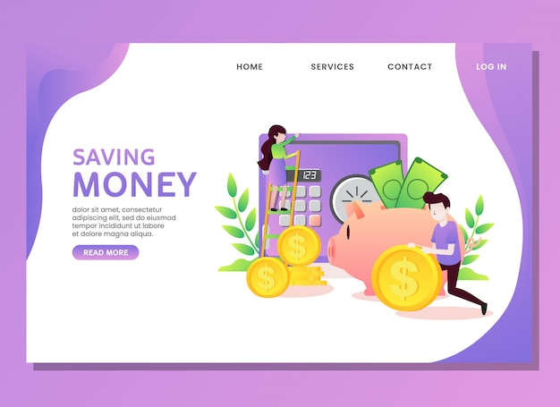 Landing page or web template. saving money concept with man and woman