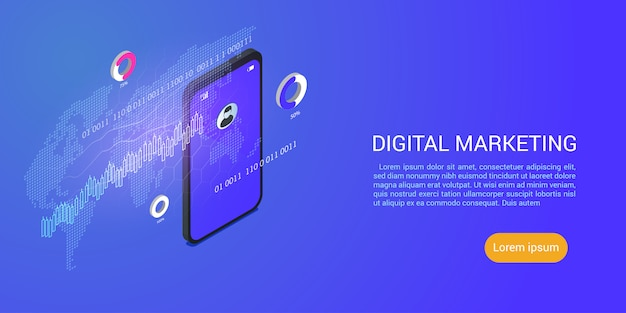 Landing page or web template for seo or search engine optimization and digital marketing business