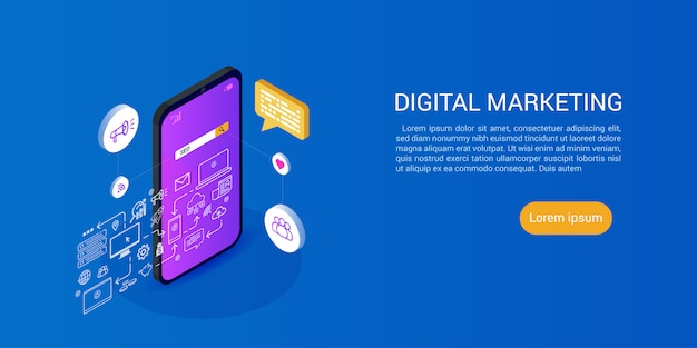 Landing page or web template for seo or search engine optimization and digital media marketing business