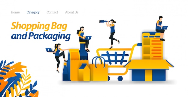 Landing page web template for shopping cart to transport goods in online stores and various packaging design models.