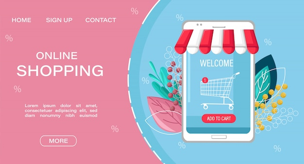 Landing page web template. shopping online app sale flat style.