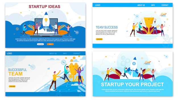 Landing page web template for startup ideas, successful time set
