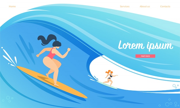 Landing page web template for surfing competition, women characters in swimwear riding surf boards