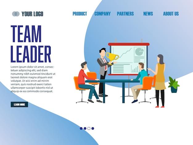 Landing page web template team leader