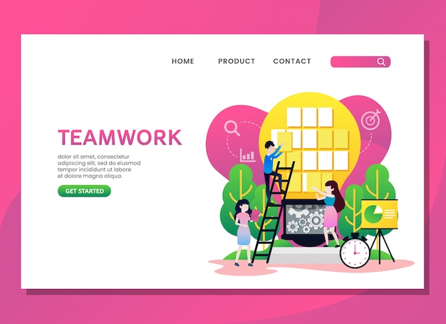 Landing page or web template. teamwork concept with woman and man