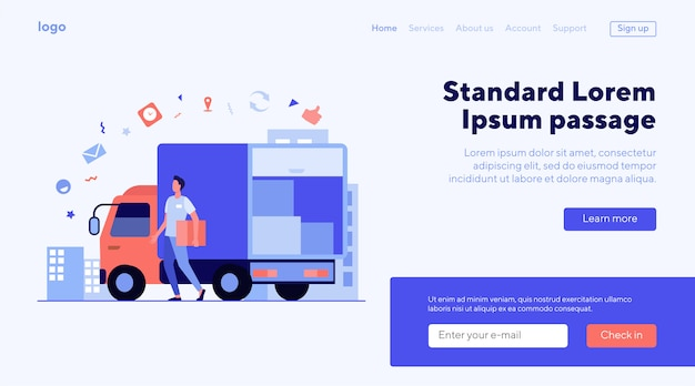 Landing page or web template for transport shipping company