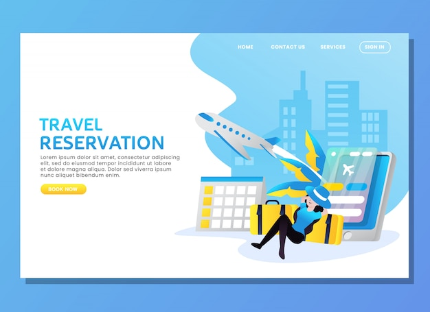 Landing page or web template. travel reservation with woman waiting for plane