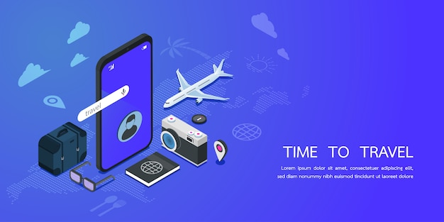 Landing page web template for travel service and booking app concept. digital marketing