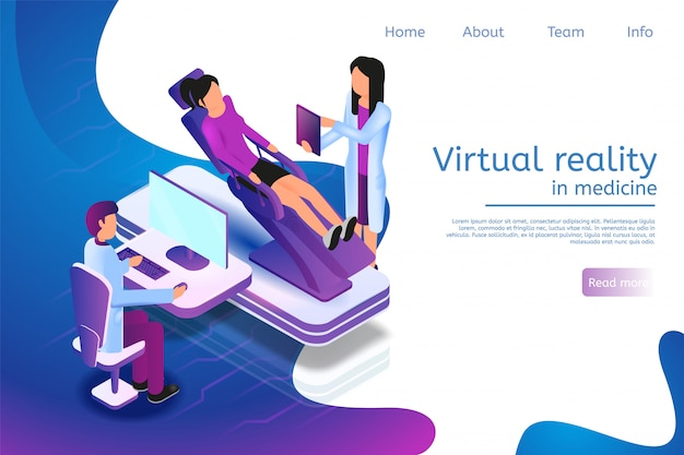 Landing page web template for virtual reality in medicine in 3d