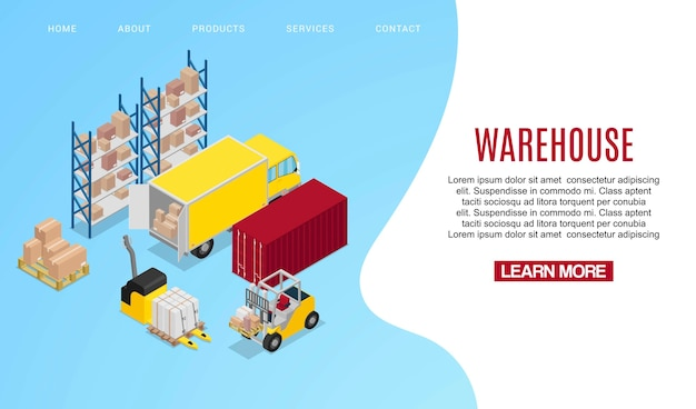 Landing page or web template for warehouse concept