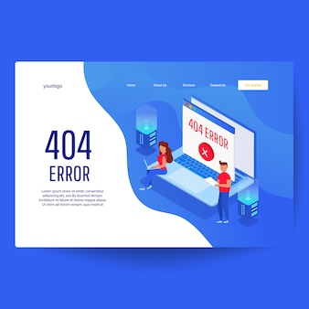Landing page web template. website 404 page error with servers and desktop