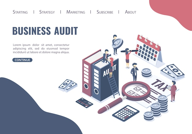 Landing page web template website. the concept of business auditing.