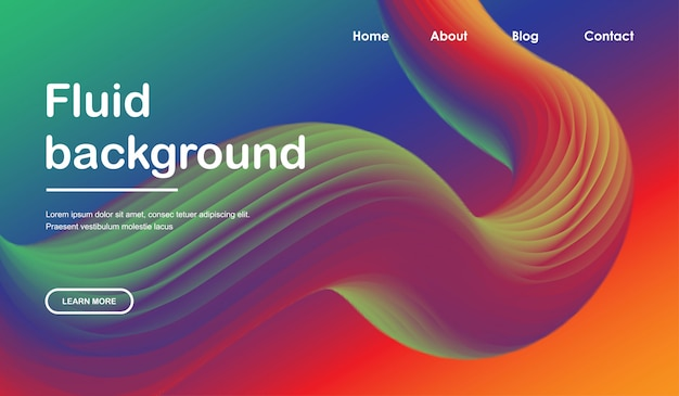 Landing page web template with 3d liquid wave design