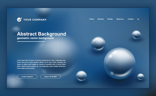 Landing page or web template with abstract blue design