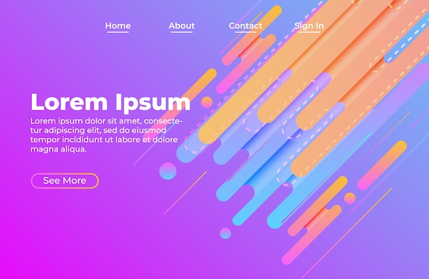 Landing page web template with abstract shape composition and cool gradient color