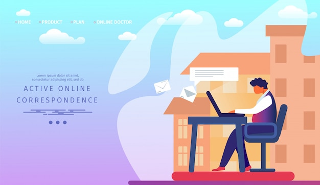 Landing page web template with business man working on laptop sending messages and letters to friends and partners via email and internet
