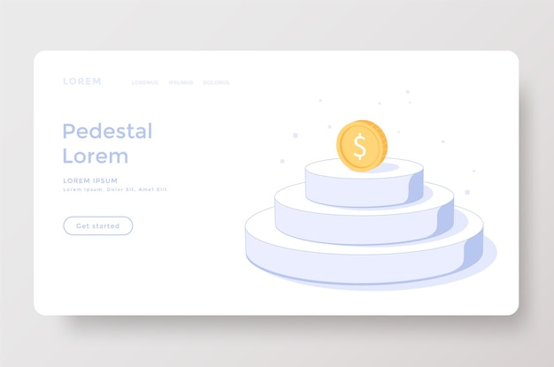 Landing page or web template with coin on podium