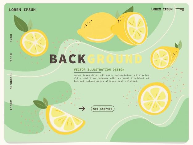 Landing page web template with cute lemon design