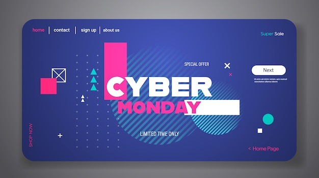Landing page or web template with cyber monday theme