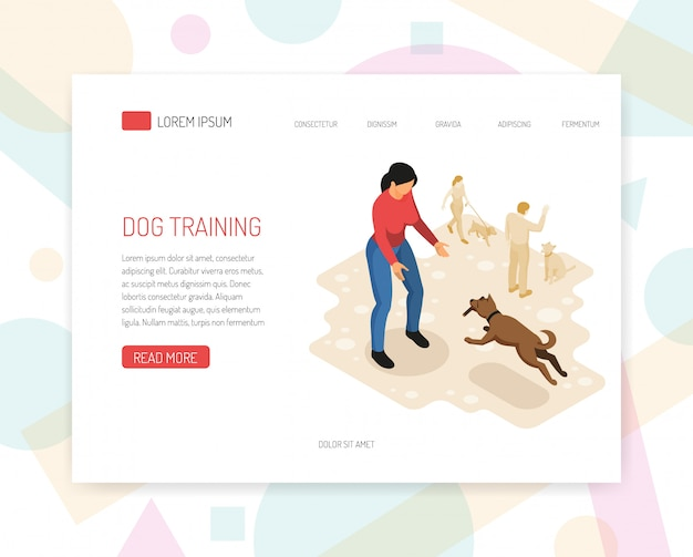 Landing page or web template with cynologyst dog training behavior analysis specific tasks undertaking interaction with environment web page isometric design vector illustration