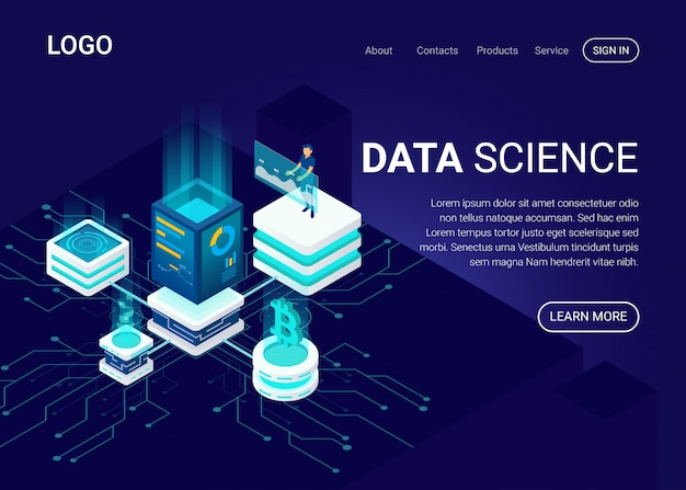 Landing page or web template with data science concept