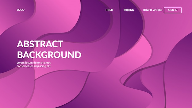 Landing page web template with dynamic modern abstract design for websites