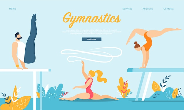 Landing page web template with group of men and women gymnasts practicing gymnastics on balance beam