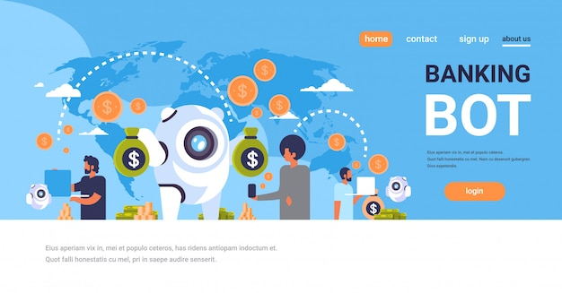 Landing page or web template with illustration, banking bot theme