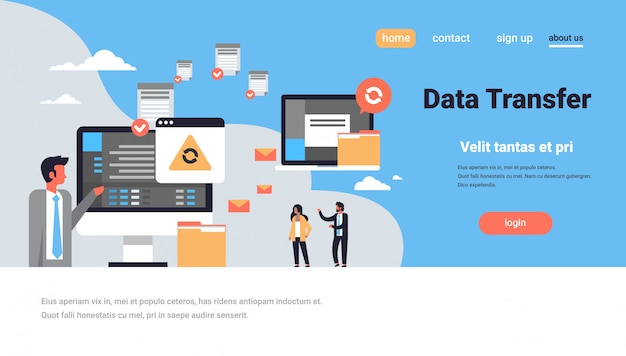 Landing page or web template with illustration, data transfer theme
