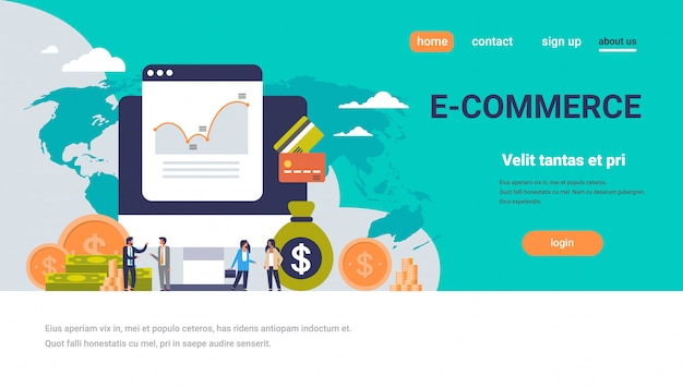 Landing page or web template with illustration, ecommerce theme