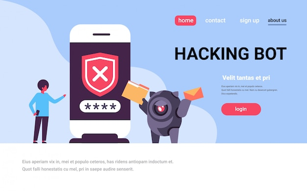 Landing page or web template with illustration, hacking bot theme