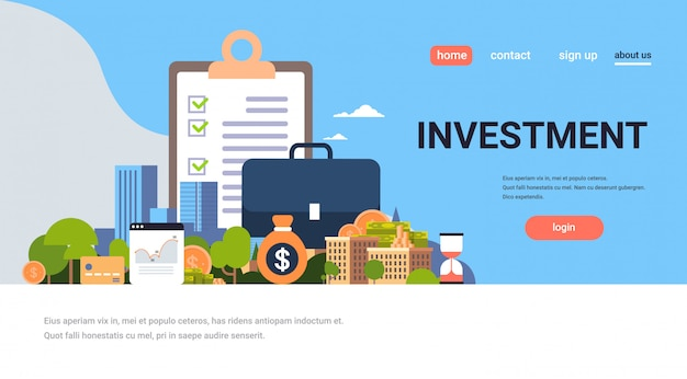 Landing page or web template with illustration, investment theme