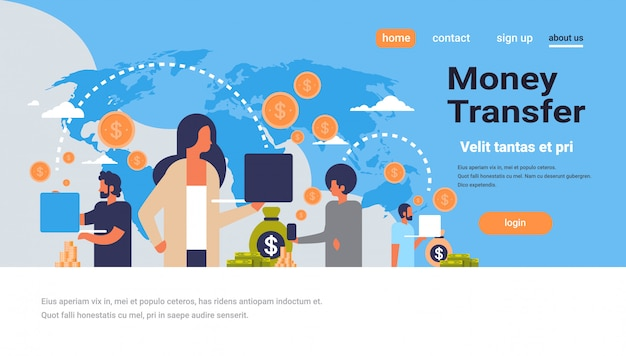 Landing page or web template with illustration, money transfer theme