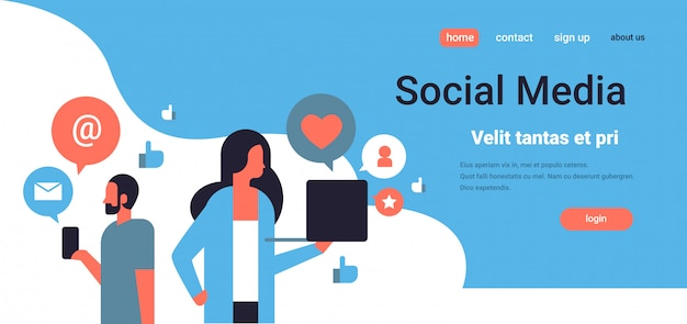 Landing page or web template with illustration, social media theme