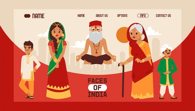 Landing page or web template with indian theme. people in national traditional clothing. meditating old yogi man in yoga lotus pose.